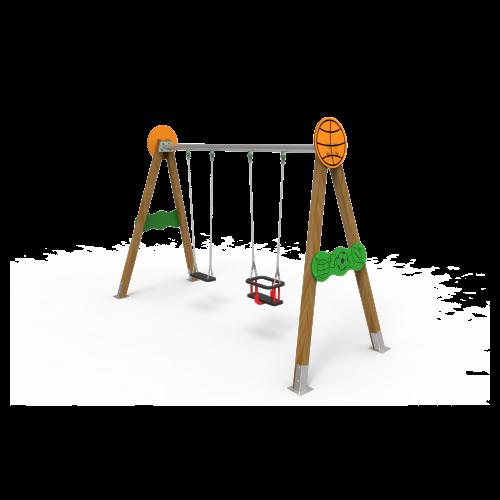 Columpio Biplaza Madera Basket